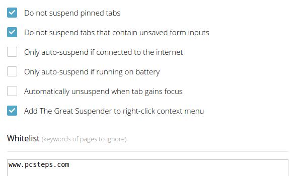 Ελαφρύς Chrome λιγότερη κατανάλωση RAM με το The Great Suspender 06