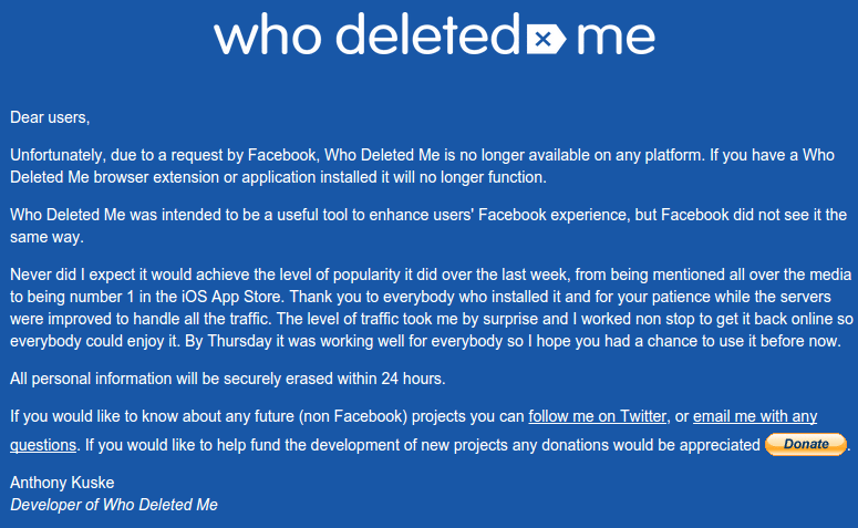 ποιος με διέγραψε στο facebook τέλος