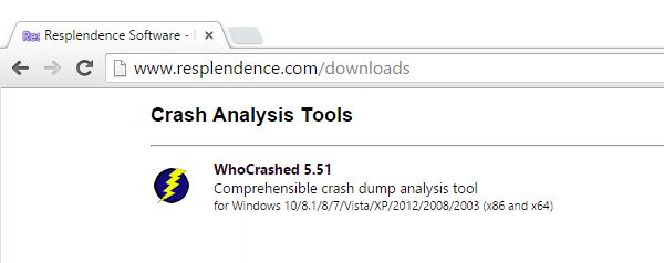 Ανάλυση Μπλε Οθόνης στα Windows με το WhoCrashed 01