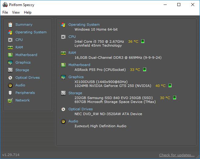 Πληροφορίες Συστήματος Υπολογιστή PC Υποστήματα Speccy 08