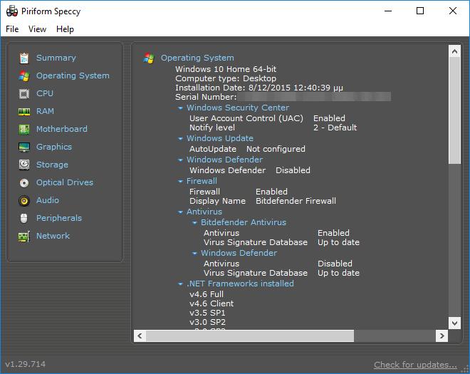 Πληροφορίες Συστήματος Υπολογιστή PC Υποστήματα Speccy 09