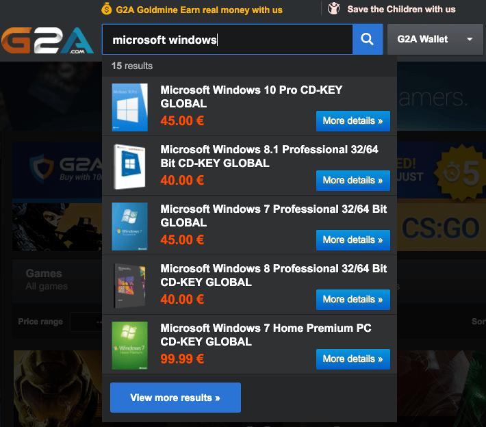 Φτηνά Παιχνίδια, Προγράμματα, και Windows με το G2A 18-2