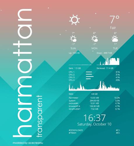Αλλαγή της επιφάνειας εργασίας με το Rainmeter 36