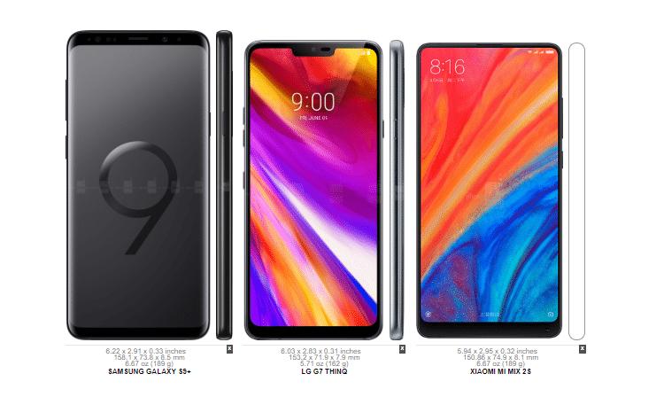 Galaxy S9+ vs. LG G7 ThinQ vs. Mi Mix 2s 3