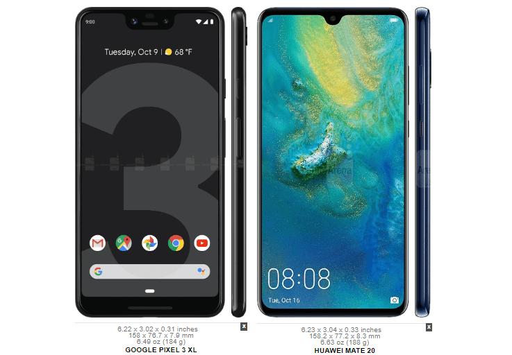 Google Pixel 3 XL vs Huawei Mate 20 1α