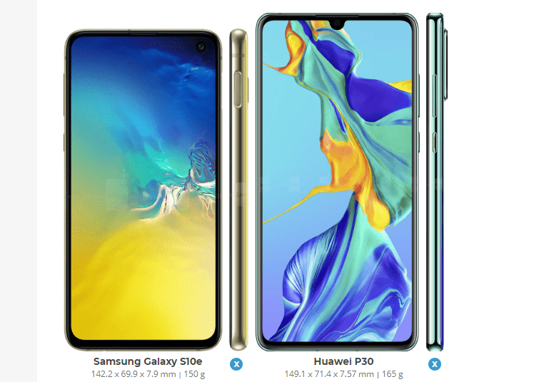 Samsung Galaxy S10e vs Huawei P30 2