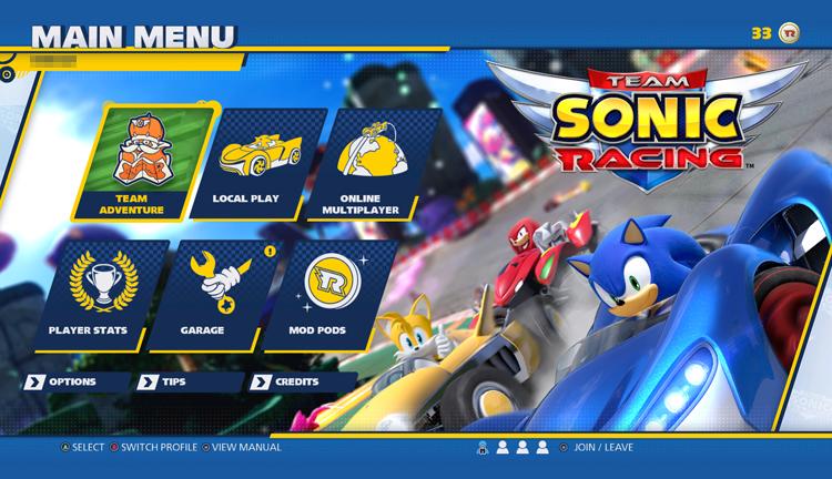 Το μενού του Team Sonic Racing
