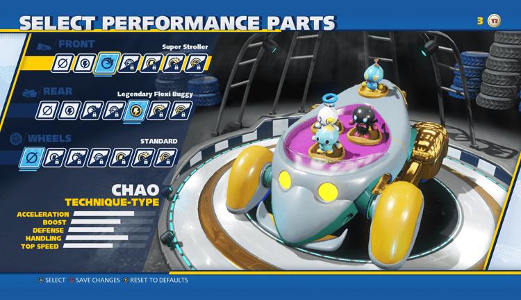 Προσαρμογή οχημάτων στο Team Sonic Racing