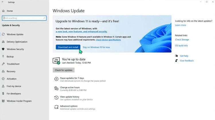Εγκατάσταση Windows 11 μέσω Windows Update
