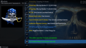 KodiSteps: Όλα Τα Torrents & Blu-Ray Του Pirate Bay - EZTV Στο Kodi v18.0